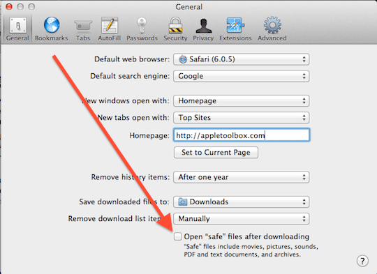 Safari Safe Download settings