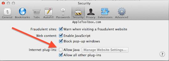 Disable Mac safari Java