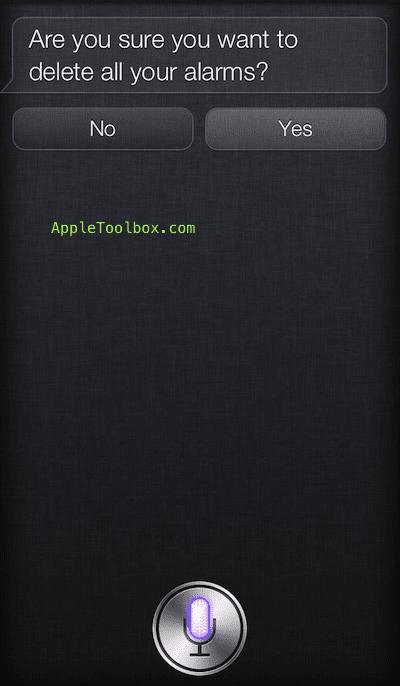Siri delete all alarms