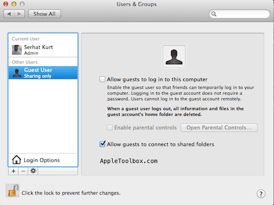 Mac User settings