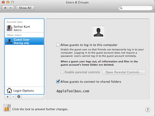 Mac User settings