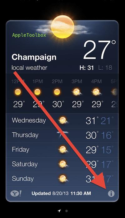 Weather app settings