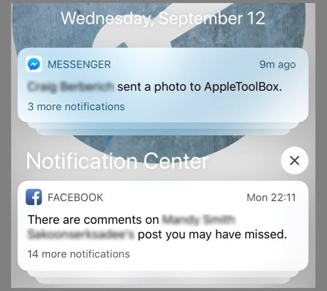 facebook notification in iOS 12 notification center