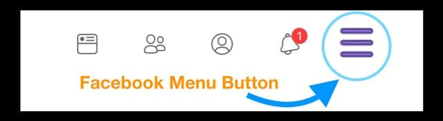 facebook menu button on lower-right on iPhone
