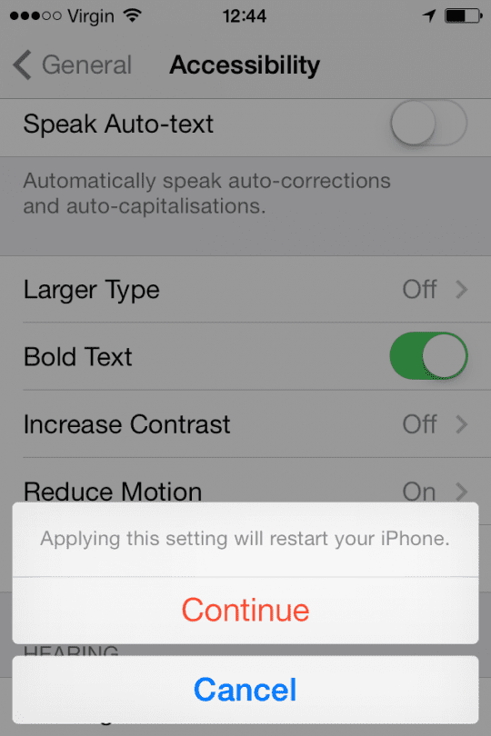 Bold text settings