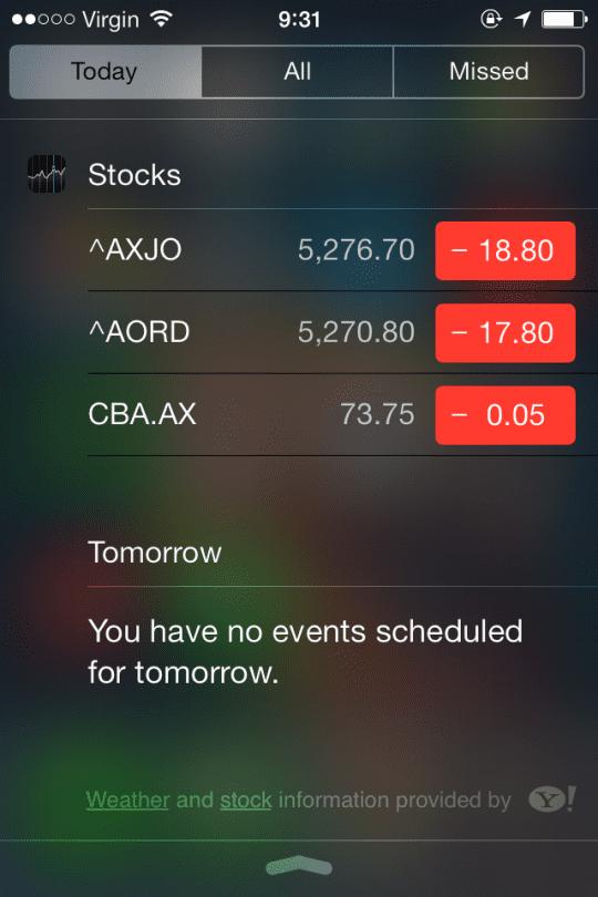 Notification Centre iOS 7
