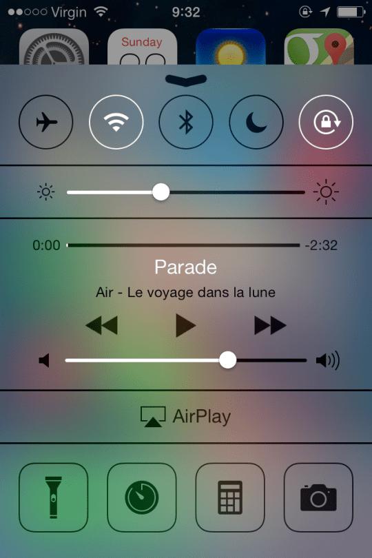 Control Centre iOS 7