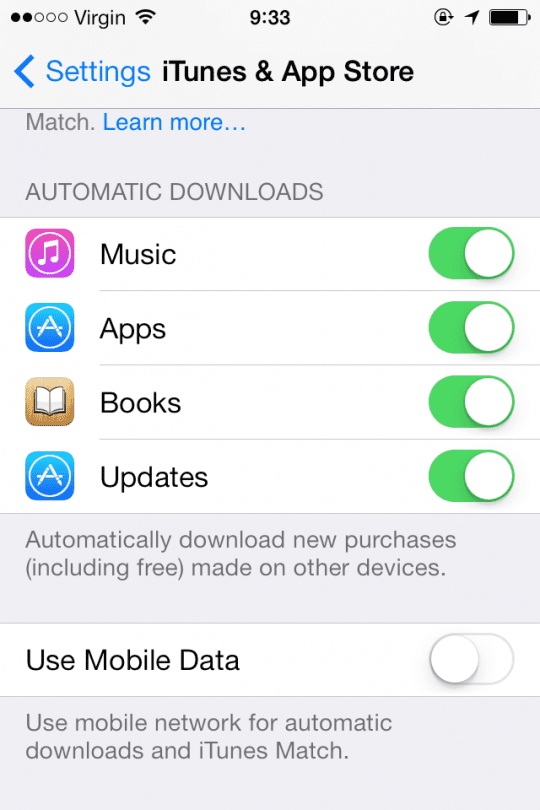 Automatic App Updates iOS 7