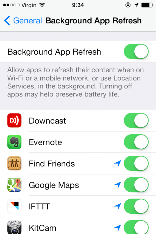 Background App Refresh iOS 7