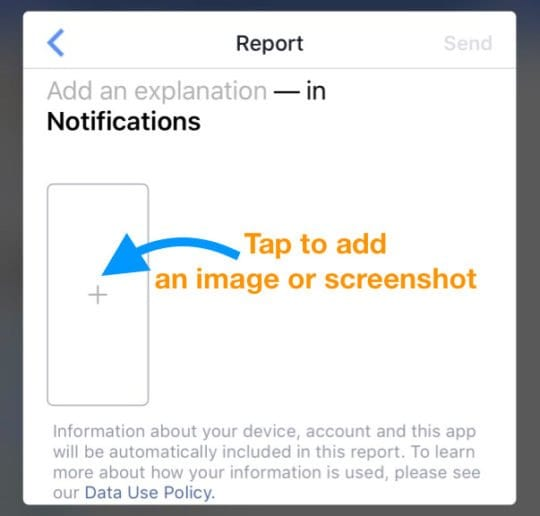 Send a report to Facebook using the Facebook app