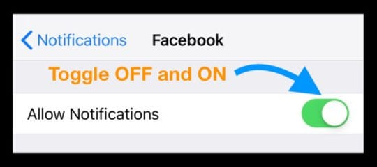 Allow Facebook Notifications Off and On
