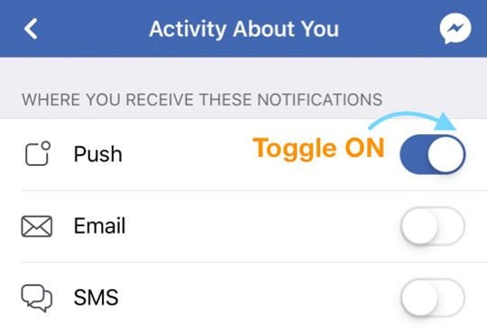 Set Facebook Push Notification ON