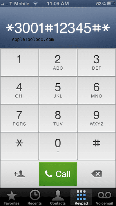 dial iPhone field test mode enter