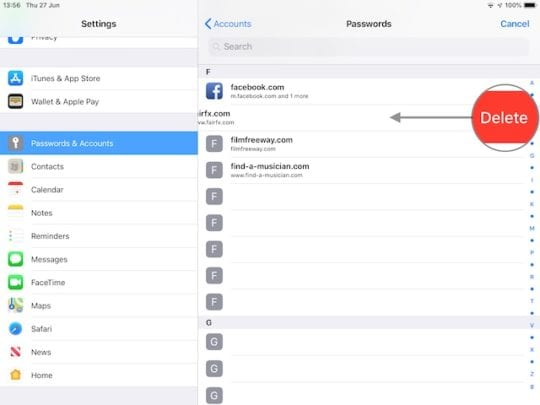 How to delete saved passwords and usernames on an iPhone