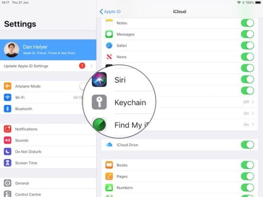 Keychain option in iCloud settings on iPhone or iPad