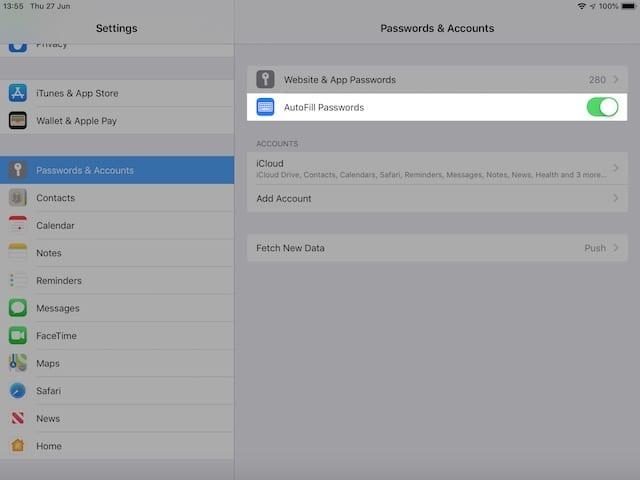 Turn off AutoFill passwords on iOS 12