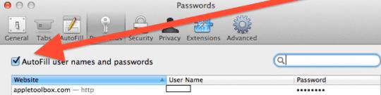 save safari password mac osx