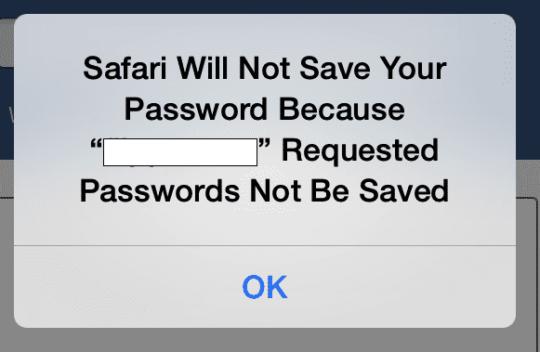 Safari not saving password
