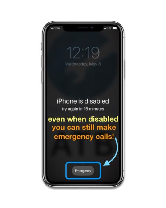 how to make an emergency call when iPhone is disabled