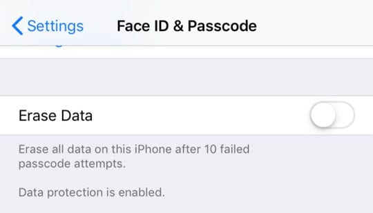 erase iPhone or iPad data on 10th passcode attempt