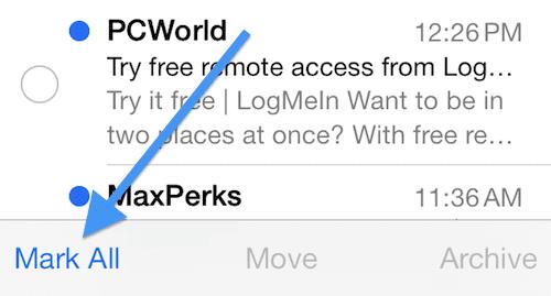 iOS 7 mark all mail