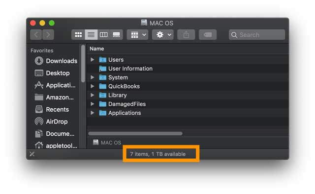 mac finder app space available on mac's hard drive
