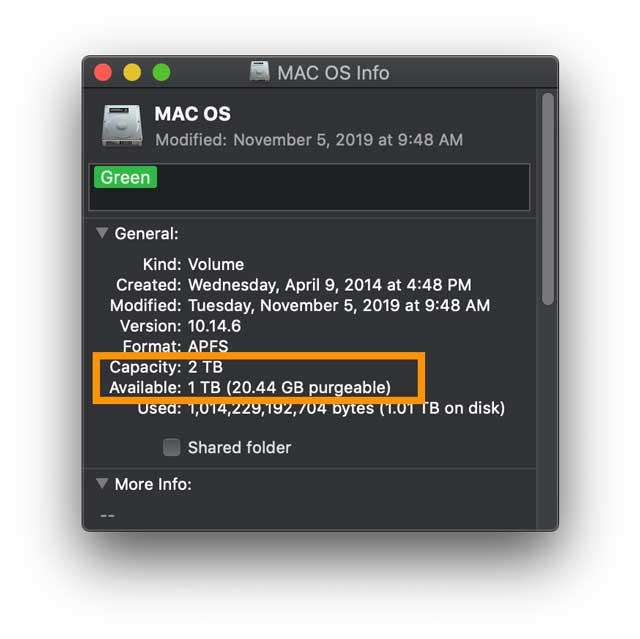 available space on Mac's disk