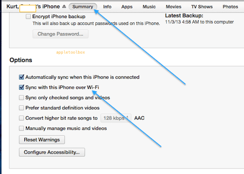 iTunes wi-fi sync