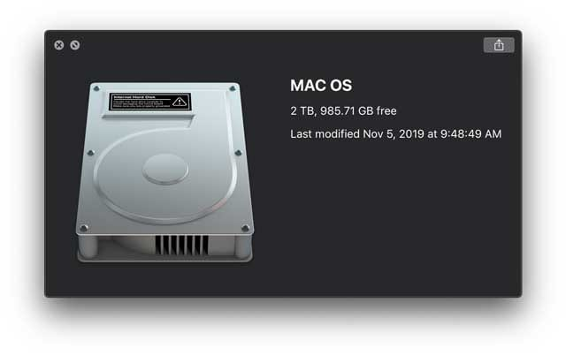 preview of Mac's drive storage capacity and availablity