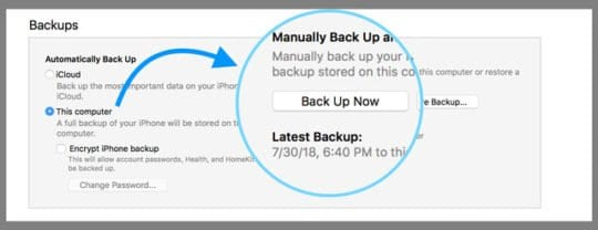 Backup Now With iTunes