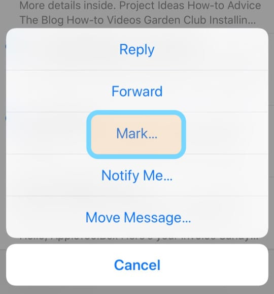 mark an email in iOS iPhone iPad Mail App