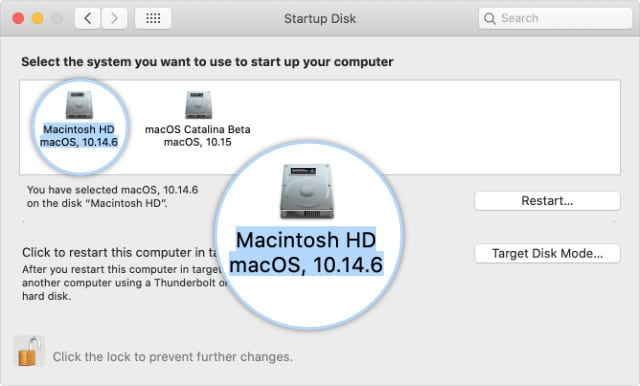 Startup disk selection in System Preferences