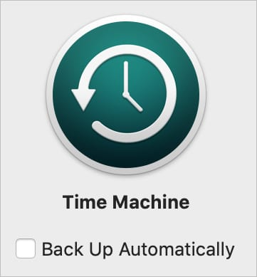 Time Machine Back Up Automatically button