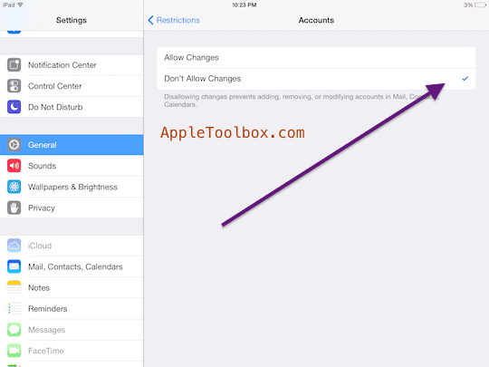iOS restrictions account changes