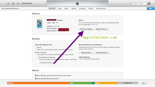 check for iOS updates in iTunes