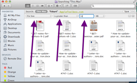 find large files mac