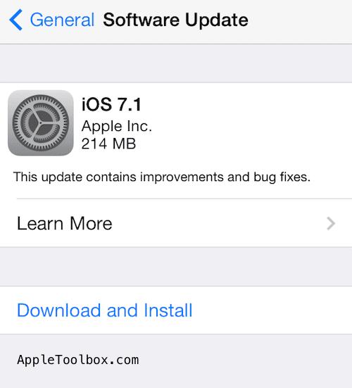 iOS 7.1. update