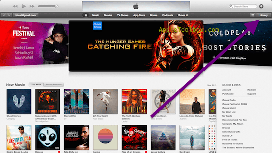 iTunes store view: Library button