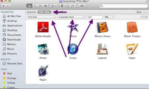 locate large files Mac search