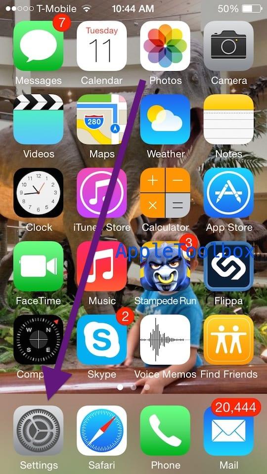 Settings App Home screen