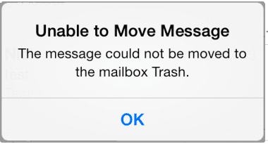 unable to move mail to trash