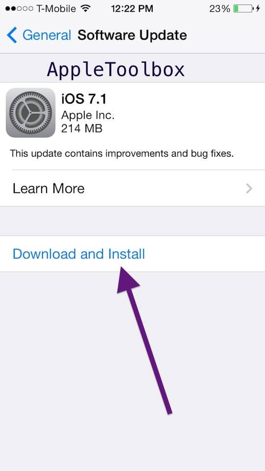 iOS update install