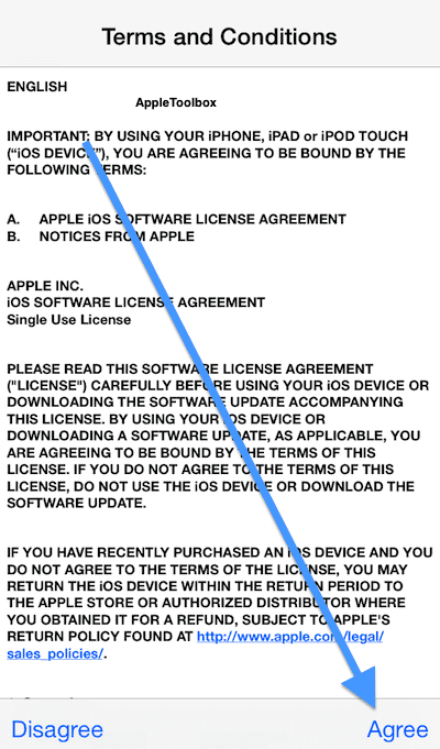 Agree to Apple's terms