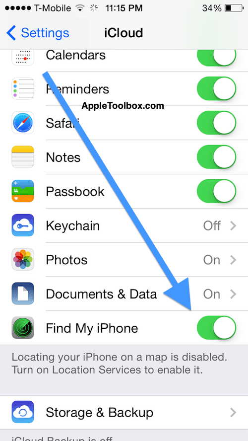 Settings Privacy Find my iPhone
