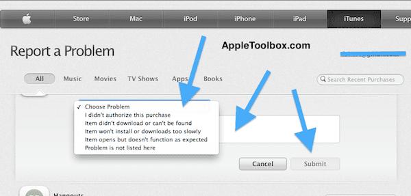 iTunes refund get