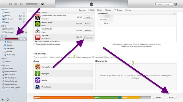 iTunes app remove