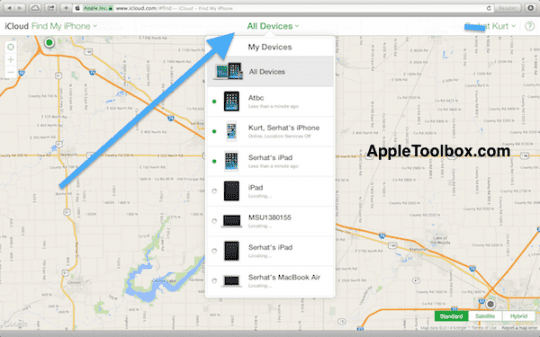 iCloud find devices
