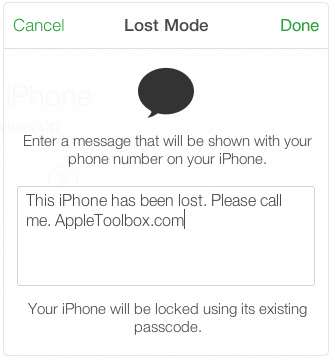 lost mode message