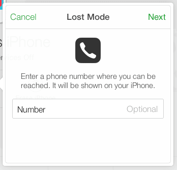 lost mode phone number enter