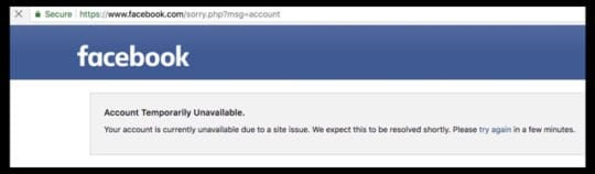 Facebook message account temporarily unavailable error message